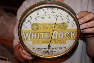 Vintage c.1915 White Bock Beer Pre-Prohibition Gas Oil Metal Thermometer Sign