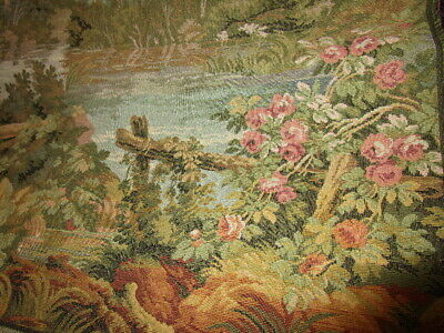 Vintage TAPESTRY made in ITALY ~ COTTAGE & LAKE w/ FLOWERS ON FENCE 19x19 ~ BIN