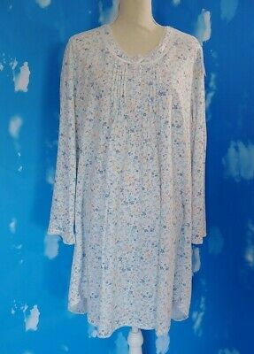 Miss Elaine Woman Blue Floral Cuddleknit Long Sleeve Nightgown   3X