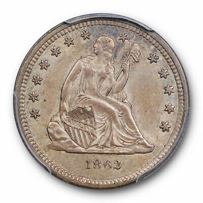 1862 25C Seated Liberty Quarter PCGS AU 58 About Uncirculated Toned