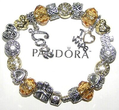 Authentic Pandora Bracelet Silver With European Charms WIFE MOM LOVE, GOLD WHITE