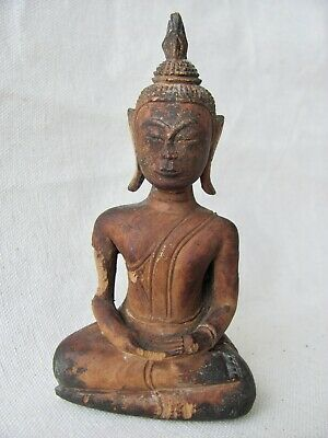 Antique Small Seated Wood Buddha Figure from Southeast Asia / Thailand