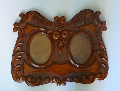 Large Antique Hand Carved Picture Frame Folk Art Photograph Display