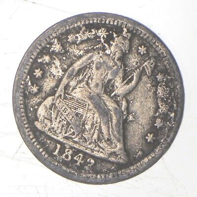 5c **1/2 Dime HALF** 1842 Seated Liberty Half Dime Early American Type Coin *075