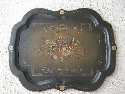 Large Antique Wooden Scalloped Edge French Tole Tray