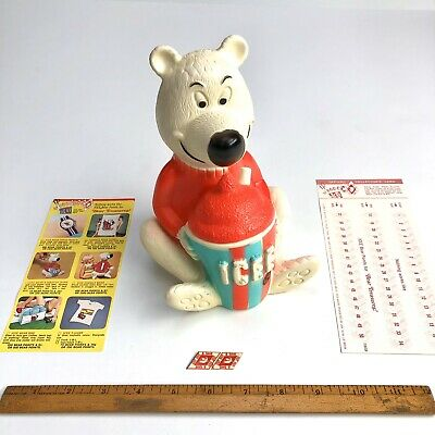 UNUSED 1970s ICEE BEAR Vinyl Toy BANK Advertising Character Premium with 2 Forms