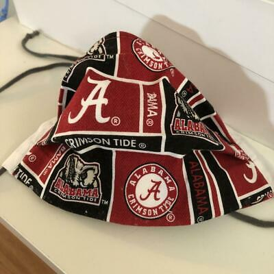 University of Alabama COMFY! cotton pleated face mask, ears or ties, filter