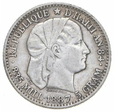 SILVER Roughly Size of Quarter 1887 Haiti 20 Centimes World Silver Coin *903