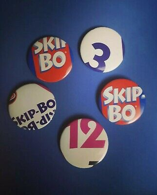Set of 5 Upcycled Playing Cards Skip-bo Button Pins