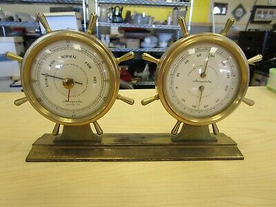 Airguide Brass Weather Station Ship Wheel Thermometer Barometer