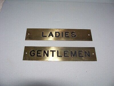 Vintage Brass Ladies & Gentlemen Washroom identifying plates