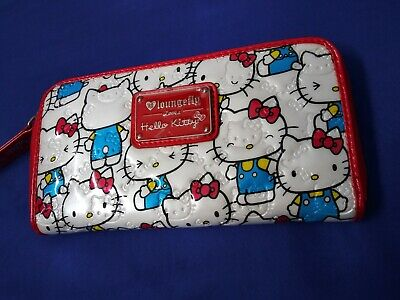 loungefly sanrio hello kitty wallet red white pattern NWOT