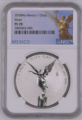2018 Mexico 1 Onza Reverse Proof Libertad NGC PL70 Mexico Label