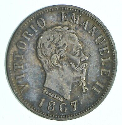 SILVER Roughly the Size of a Dime 1867 Italy 50 Centesimi World Silver Coin *415