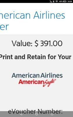 $391 American Airlines Voucher Egift gift certificate card
