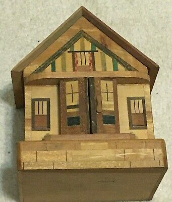 Vintage Japanese Wooden Marquetry Puzzle House Bank Hidden Drawer with Key