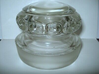 """Early Large """"Dakota"""" Candy / Apothecary Jar Ground Lid With Thumbprint Edge"""