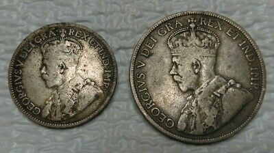 """1917 Newfoundland 25 And 50 Cent """"C"""" Mint Silver Coins"""