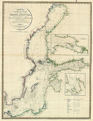1803 Nautical Chart Coast Coastal Survey Map Baltic Sea Vintage Poster History