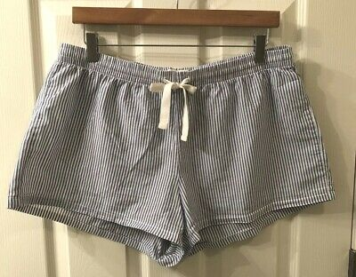 Gap Body - Women's 100% Cotton Pajama Lounge Shorts - Blue/White Stripe - Size L