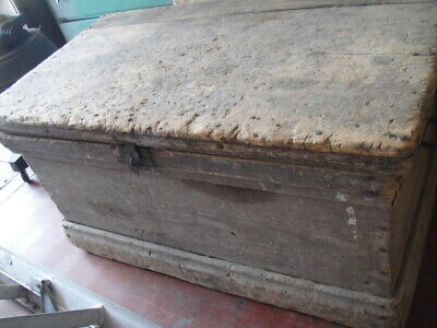 Antique PRIMITIVE Carpenters ORIGINAL Wood Tool Trunk Chest with 3 Trays