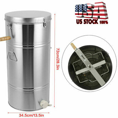 Two 2 Frame Honey Extractor Stainless Steel Beekeeping Equipment Durable 28 Inch