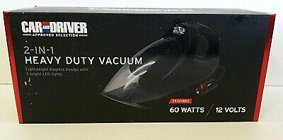 Car & Driver Heavy Duty Vehicle Vacuum Lightweight Bagless 3 Led Lights Nib