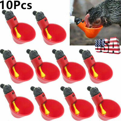 10Pcs/Pack Poultry Water Drinking Cups Chicken Hen Birds Automatic Drinker US