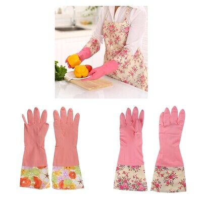 2Pairs Reusable Kitchen Dishwashing Latex Cleaning Gloves Laundry Gloves