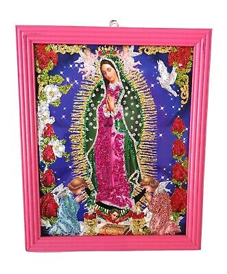 Authentic MEXICAN Virgin of Guadalupe Glittery Retablo Painting Icons Kitsch #06