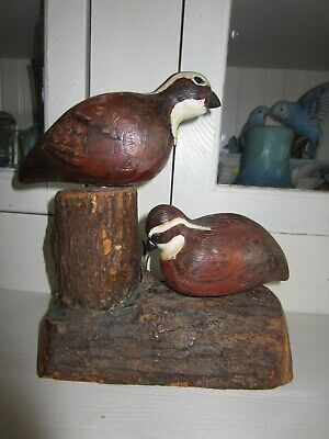 Vintage  Wood Carved Birds  1981 Signed