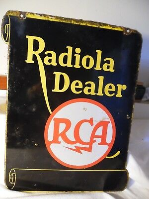 1920's RADIOLA DEALER~RCA~RADIO CORP. OF AMERICA~2 SIDED FLANGED PORCELAIN SIGN~