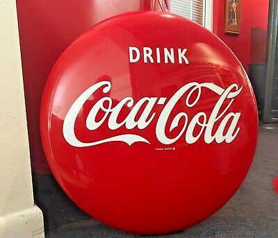 """Coca Cola 1950s 24"""" Button Sign Roddy Bottling Never Hung Metal AM-52 Near Mint!"""