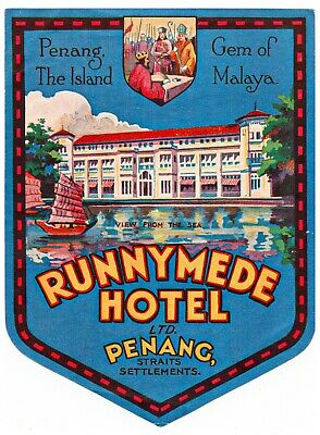 Original1920's Runnymede Hotel Penang Malasia Luggage Label