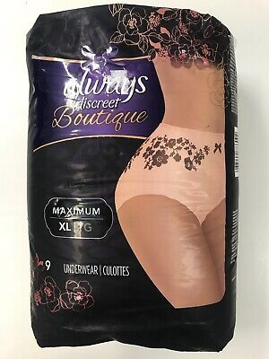 Always Discreet Boutique Max Protect Incontinence Underwear, Peach, XL, 9 ct