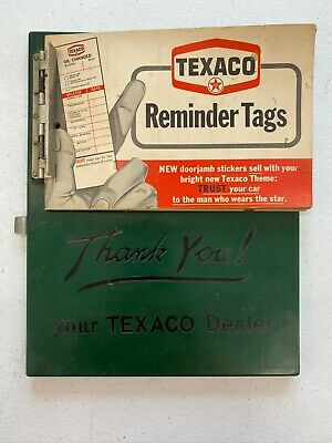 Vintage Texaco Charge Credit Card Clipboard with Oil Change Reminder Tags