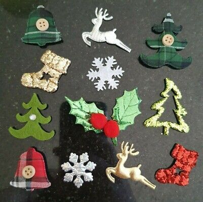 1270 fabric Christmas embellishments appliques card making job lot wholesale
