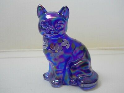 Fenton Art Glass Cat Floral Hand Painted Artist Signed Mint!  Nr W/Orig. Label