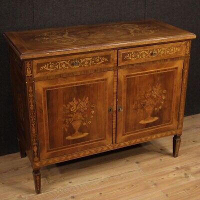 Cupboard Furniture Dresser Wooden Inlaid Antique Style Louis XVI Living Room 900