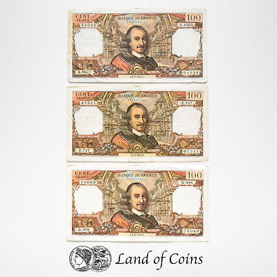 FRANCE: 3 x 100 French Franc Banknotes.