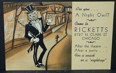 2 Postcards: Ricketts Restaurant &Bar Chicago 1940's Unposted Wrigley Field Cubs