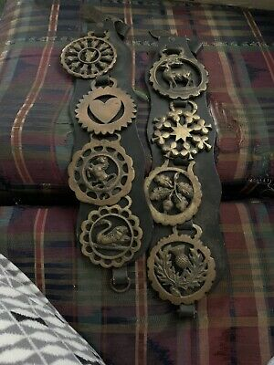 Vintage Leather And Brass Horse Medallions
