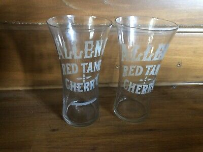 2 Vintage Allens Red Tame Cherry Etched Soda glasses