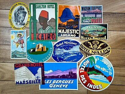 Nice Lot of 12 Original Hotel Luggage Labels