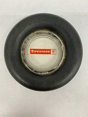 Vintage Firestone Rubber Tire and Glass Ashtray