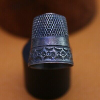 "Antique ""Sewing Thimble"" by Simons Brothers Sterling Silver Size 9"