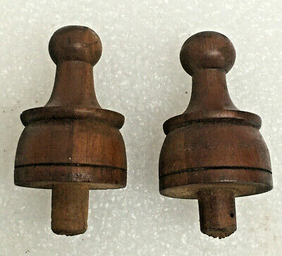 "2 - Antique American 2 1/4"" Walnut Finials For Parts"