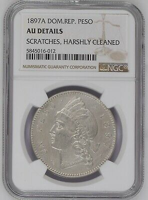 Dominican Republic 1 PESO 1897 NGC AU Details Coin