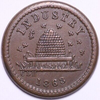 1863 Industry Not One Cent Civil War Token FREE SHIPPING E904 UCT