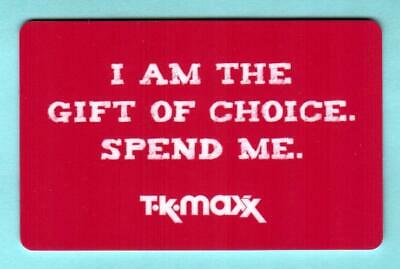 T.K. MAXX ( UK ) I Am the Gift of Choice Spend Me 2012 Gift Card ( $0 )